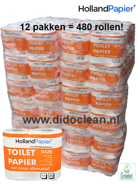 12 pakken van 40 rollen Toiletpapier wit cellulose 2 laags 400 vel – HollandPapier