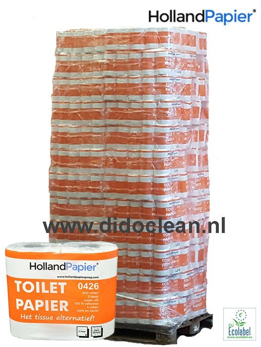 Pallet Toiletpapier wit cellulose 2 laags 400 vel – HollandPapier