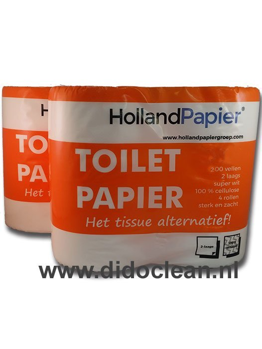 Toiletpapier wit cellulose 2 laags 200 vel per rol – HollandPapier