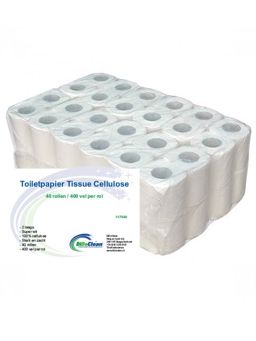 Toiletpapier Tissue Cellulose 2 laags 40 rol 400 vel